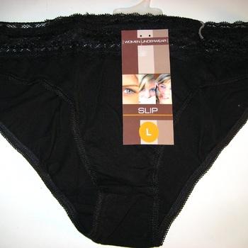 culotte coton-élasthane ceinture dentelle blanc ou noir