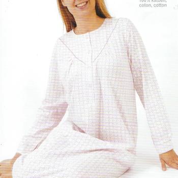 robe de nuit coton jersey - ronds ciel : S - XXL