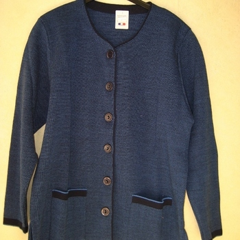 gilet chiné bleu avec poches pour dame