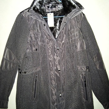veste gris point riz col fourrure pour dame
