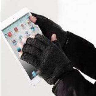 gants sans bouts ou mitaines en tricot noir ou gris