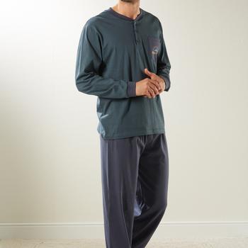 pyjama coton jersey pour homme - eskimo gris en PROMO - reste S
