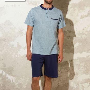 pyjashort coton jersey pour homme - grandes tailles - Bill avec 3 boutons - reste 3XL